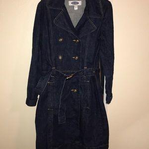Old navy denim belted trench coat medium